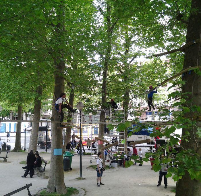 Touwenparcour tussen de bomen